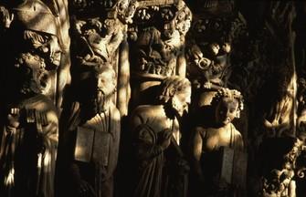 Pormenor do Pórtico da Glória da catedral de Santiago