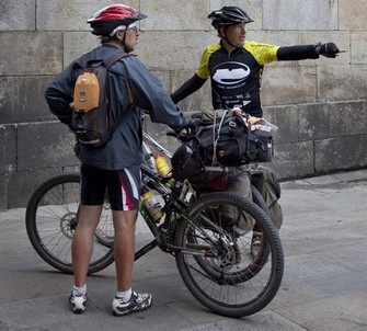Pilgrims cycling in Santiago