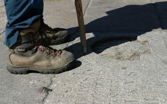Pilgrim's foot and boot