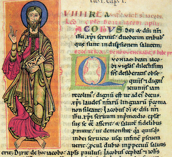 One of the pages of the Codex Calixtinus with a miniature drawing of the Apostle Santiago.